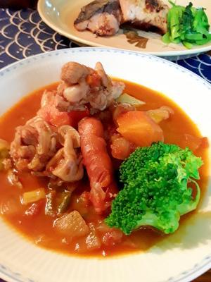 手羽元とソーセージの野菜たっぷりイタリアントマト煮