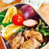 お弁当おかず☆鶏のから揚げ、たらこ、さつま芋など。