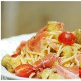焼き茄子と生ハムの冷製スパゲッティーニ