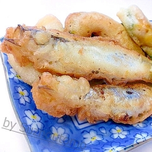 サックリ衣のシシャモと野菜の天ぷら