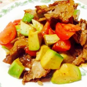 豚肉とアボカドとトマトのソテー