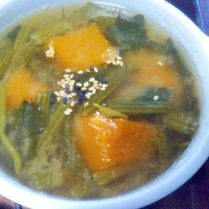 冷凍かぼちゃ&冷凍ほうれん草の味噌汁
