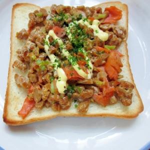 簡単☆納豆鮭のトースト