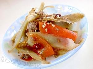 甘辛味が美味しい 挽肉とごぼうの炒め煮
