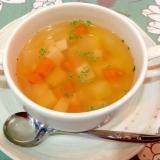 じゃがいも・人参・サラダチキンのスープ