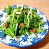 水菜とアーモンドの粉チーズサラダ