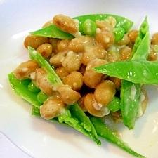 塩麹で☆ スナップエンドウと納豆の和え物