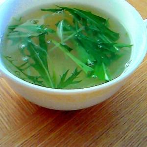 鶏ハムと水菜のスープ