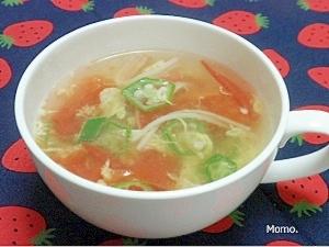 自然なとろみ♪トマトとオクラの玉子スープ