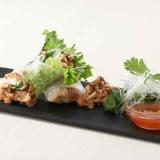 ドライ納豆とイベリコ豚のライスペーパーロール