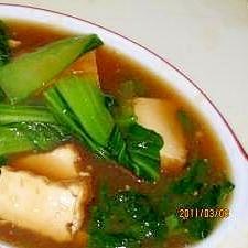 厚揚げとチンゲン菜の中華炒め