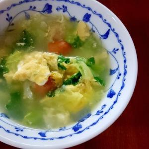 卵とキャベツのとウインナーのスープ
