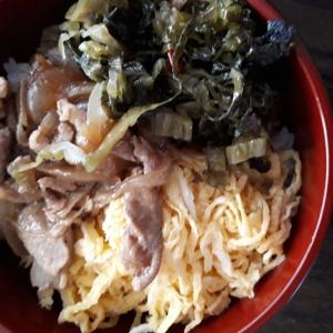 高菜の油炒めと錦糸たまごとしょうが焼き丼