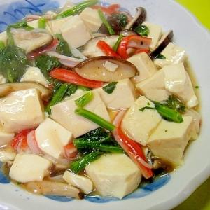 豆腐とカニカマほうれん草の中華煮