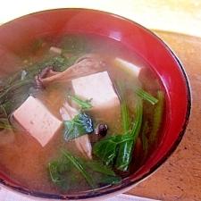 ほうれん草・しめじ・豆腐のお味噌汁