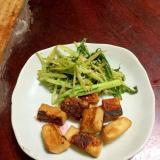 はんぺんステーキと水菜のソテーの盛合わせ@大蒜醤油
