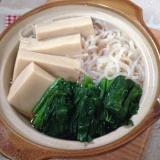 高野豆腐としらたきとほうれん草の含め煮♪