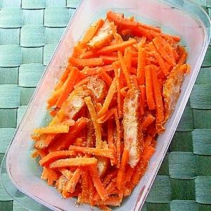 にんじんと野菜天の塩ごま炒め