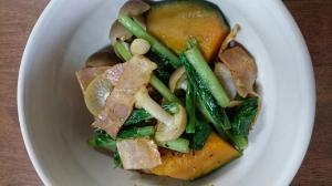 簡単で栄養バッチリ!かぼちゃと小松菜のベーコン炒め