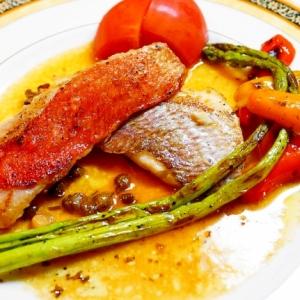フレンチの魚料理の定番!金目鯛と真鯛のポアレ