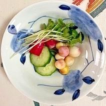 胡瓜、ラディッシュ、貝割れ、豆麩の和え物