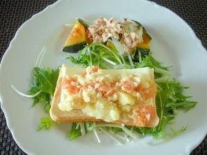 チーズとPサラダのオープンサンド&ツナカボサラダ♪