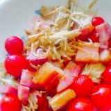 厚切りベーコンえのきプチトマトのガーリック炒め