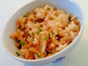 生姜香る キムチとなめたけと葱の混ぜご飯♬