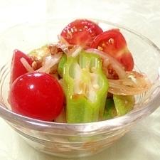 オクラとトマトの和風ポン酢サラダ☆