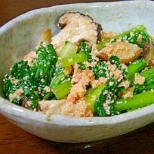 小松菜と椎茸の明太子炒め
