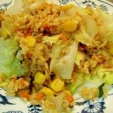 カレー風味のカラフルレタス玄米チャーハン