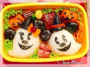 ハロウィンキャラ弁☆おばけミッキー弁当