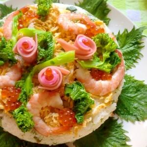 デコ寿司~菜の花✿えび✿イクラ・・・