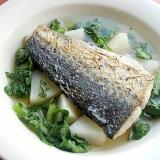 フランス料理お魚のポワレ❤大根スープで♪(大根葉)