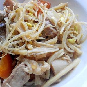 素材の味で❤鶏もも肉&タケノコ&キノコの煮物♪