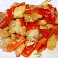 鶏肉とパプリカのにんにく醤油炒め