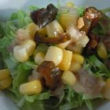 キュウリのキューちゃんとコーンとキャベツのサラダ