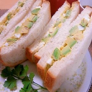 アボカドと茹で卵のマヨサラダサンド☆ランチに^^