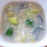 茄子とズッキーニの卵スープ