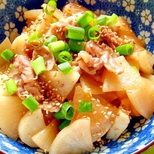 大根と長芋と豚肉の炒め煮