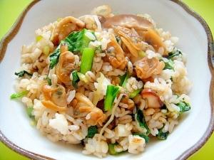 あさりと小松菜椎茸の和風チャーハン