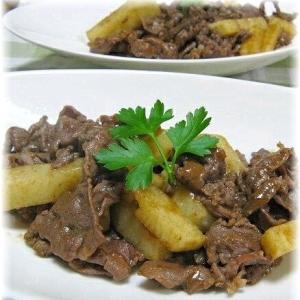 ご飯が進む~! 長芋と牛肉のカレー風味の炒め物