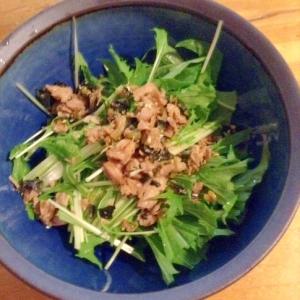 水菜とまぐろのソフトふりかけの胡麻油サラダ