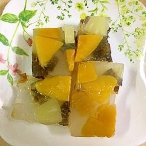 冷凍マンゴーと冷凍パインの寒天