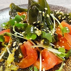 トマトワカメの生姜サラダ