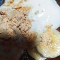 バナナとカシューナッツの黒蜜きな粉ヨーグルト