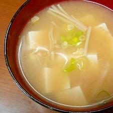 お鍋の材料が残ったら:豆腐とエノキの味噌汁