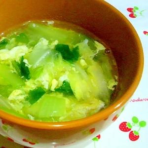 チンゲン菜と白菜のかきたまスープ