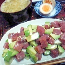 アボカドマグロの豆腐のせ