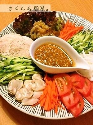 中華料理の前菜風★蒸し鶏のピーナツダレ。